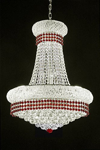 "French Empire Crystal Chandelier Chandeliers Lighting Trimmed With Ruby Red Crystal Good For Dining Room Foyer Entryway Family Room And More H32"" X W24"" - A93-Silver/B74/542/15"