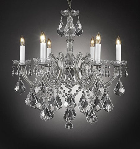 "Maria Theresa Chandelier Crystal Lighting Chandeliers H 20"" W 22"" - J10-Silver/B7/26067/6"