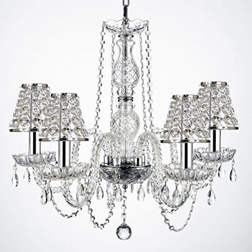 "Empress Crystal (Tm) Wrought Iron Chandelier Lighting H25"" W24"" With Crystal Shades And Chrome Sleeves Swag Plug In-Chandelier W/ 14' Feet Of Hanging Chain And Wire - G46-B15/B32/B43/384/5"