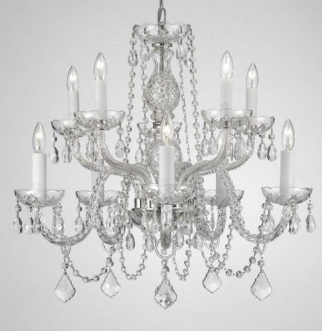 "Swarovski Crystal Trimmed Chandelier! Chandelier Lighting Dressed With Swarovski Crystal! H 25"" W 24"" - G46-Cs/1122/5+5Sw"