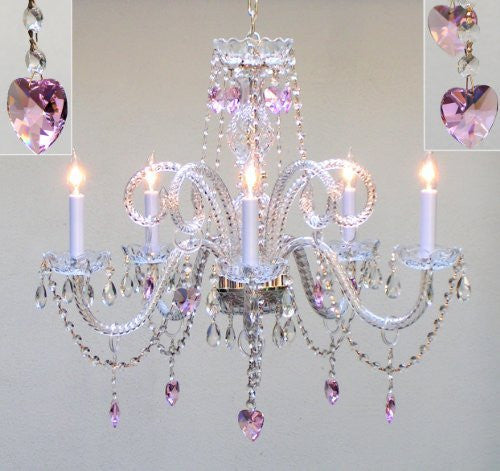 "Chandelier Lighting With Pink Crystal Hearts H25"" X W24"" Swag Plug In-Chandelier W/ 14' Feet Of Hanging Chain And Wire - A46-B15/Hearts/387/5/Pink"