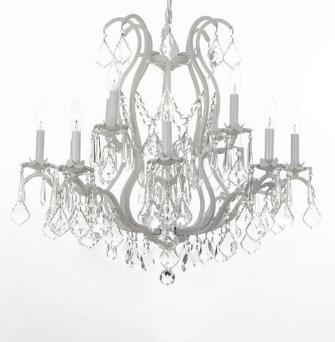 "White Wrought Iron Crystal Chandelier H30"" X W28"" - J10-26014/12White"