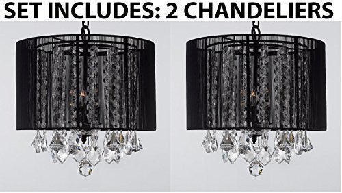 "Set Of 2 - Crystal Chandeliers Chandelier With Large Black Shade H15"" X W15"" - 2Ea G7-Black/26029/3"