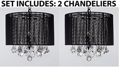 "Set Of 2 - Crystal Chandeliers Chandelier With Large Black Shade H15"" X W15"" - 2Ea G7-Black/604/3"