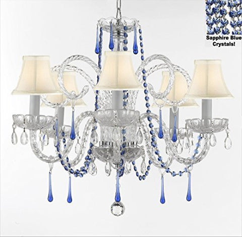 "Authentic All Crystal Chandelier Chandeliers Lighting With Sapphire Blue Crystals And White Shades Perfect For Living Room Dining Room Kitchen Kid'S Bedroom H25"" W24"" - G46-B82/Whiteshades/387/5"