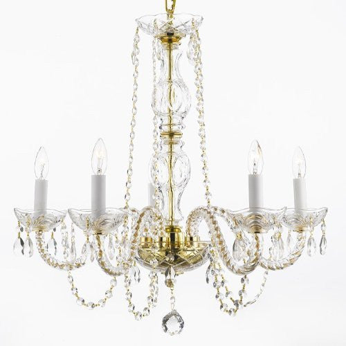 "Chandelier Lighting Dressed W/Swarovski Crystal H25"" X W24"" - Cjd-G46-Gold/384/5Sw"