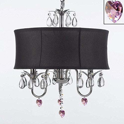 "Crystal Chandelier With Large Black Shade And Pink Crystal Hearts W18"" H 22"" - Perfect For Kids' And Girls Bedrooms - G7-B21/Black/834/3"