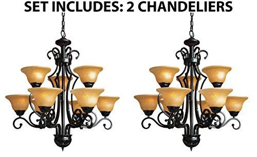 "Set Of 2 - Wrought Iron Chandelier H30"" W28"" 9 Lights - A84-451/9-Set Of 2"