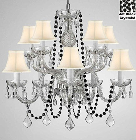 "Authentic All Crystal Chandelier Chandeliers Lighting With Jet Black Crystals And White Shades Perfect For Living Room Dining Room Kitchen Kid'S Bedroom H25"" W24"" - G46-B80/Cs/Whiteshades/1122/5+5"