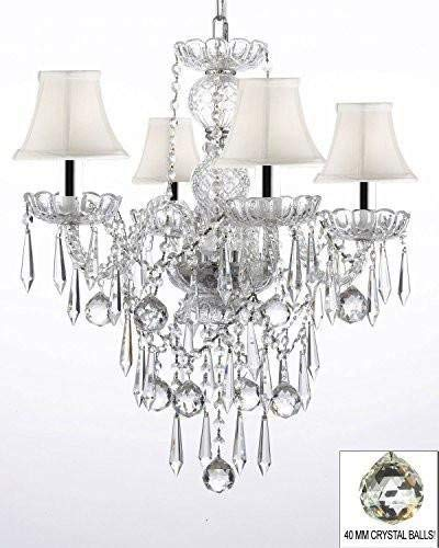 All Crystal Chandelier Lighting Chandeliers W/ 40MM Crystal Balls & Crystal ICICLES w/Chrome Sleeves - G46-B43/WHITESHADES/B29/3/275/4