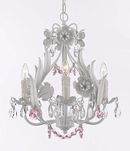 White Iron Floral Crystal Flower Chandelier Lighting W/ Pink Crystal Hearts And Strands - Perfect For Kid'S And Girls Bedroom Swag Plug In-Chandelier W/ 14' Feet Of Hanging Chain And Wire - G7-B17/B41/White/326/4