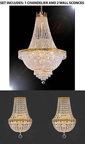 "Set Of 3 - 1 Swarovski Crystal Trimmed Chandelier Empire Chandelier Lighting H 30"" X W 24"" And 2 Swarovski Crystal Trimmed Chandelier Empire Crystal Wall Sconce Lighting W 9.5"" H 18"" D 5"" - 1Ea-870/9 + 2Ea-Wallsconce/Cg/26089-Sw"