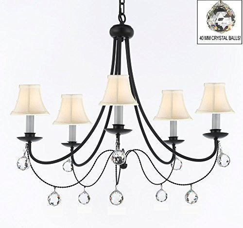 "Empress Crystal (Tm) Wrought Iron Chandelier Lighting H.22.5"" X W.26"" With White Shades And Crystal Balls! Swag Plug In-Chandelier W/ 14' Feet Of Hanging Chain And Wire! - A7-B16/Sc/Whiteshades/B6/403/5"