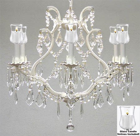 "Empress Crystal (Tm) Chandelier W/ Candle Votives H19"" W20"" - For Indoor / Outdoor Use! Great For Outdoor Events, Hang From Trees / Gazebo / Pergola / Porch / Patio / Tent ! - A83-B31/White/3530/6"