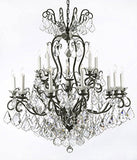 "Swarovski Crystal Trimmed Chandelier! Wrought Iron Crystal Chandelier Lighting W38"" H44"" - A83-556/16 Sw"