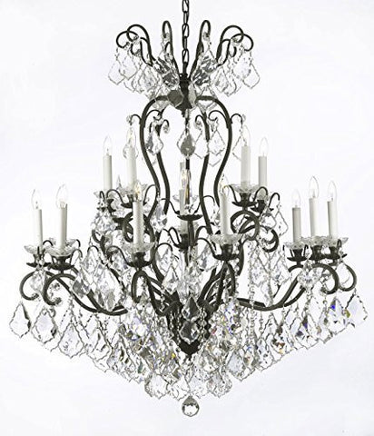 "Swarovski Crystal Trimmed Chandelier Wrought Iron Crystal Chandelier Lighting W38"" H44"" - A83-556/16 Sw"