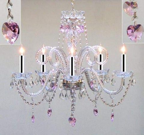 "Chandelier Lighting Dressed w/Pink Empress Crystal (Tm) Hearts w/Chrome Sleeves H25"" X W24"" Chandelier Lighting! - GO-B43/A46-HEARTS/387/5/PINK"