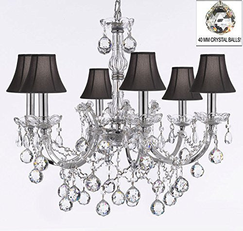 "Maria Theresa Chandelier Lighting Empress Crystal (Tm) Chandeliers H 20"" X W 22"" Chrome Finish Dressed With Crystal Balls With Black Shades - F83-Sc/Blackshade/B6/Chrome/2528/6"