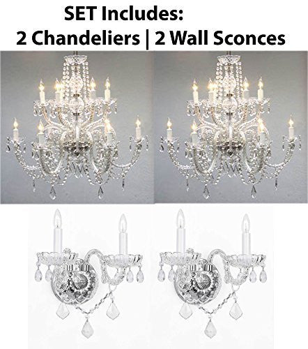 "Four Piece Lighting Set - 2 Crystal Chandeliers H27"" X W32"" And 2 Wall Sconces - 2Ea 385/6+6 + 2Ea B12/2/386"