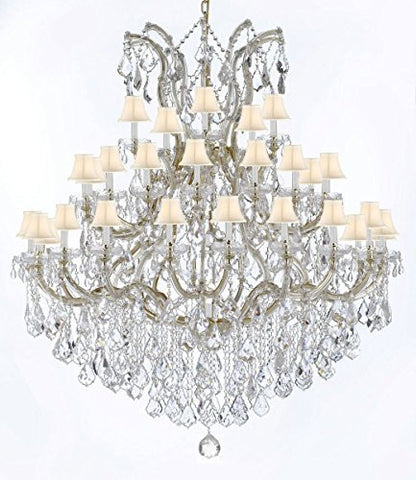 "Large Foyer / Entryway Maria Theresa Empress Crystal (Tm) Chandelier Lighting W/White Shade H 60"" W 52"" - Gb104-Whiteshade/B12/2756/36+1"