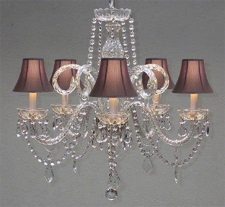 "Swarovski Crystal Trimmed Chandelier! Crystal Chandelier And Black Shades H25"" X W24"" - A46-Blackshades/385/5Sw"