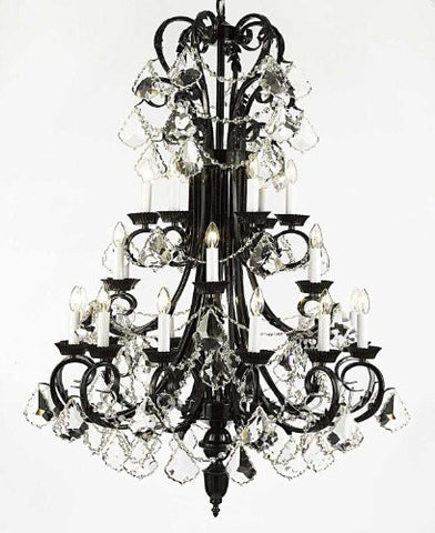 "Large Foyer / Entryway Wrought Iron Chandelier 50"" Inches Tall With Crystal H50"" X W30"" - G84-B13/724/24"
