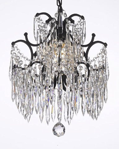 "Chandelier Wrought Iron Crystal Chandeliers Dressed With Icicle Crystals H14"" W11"" - J10-B27/26030/1"