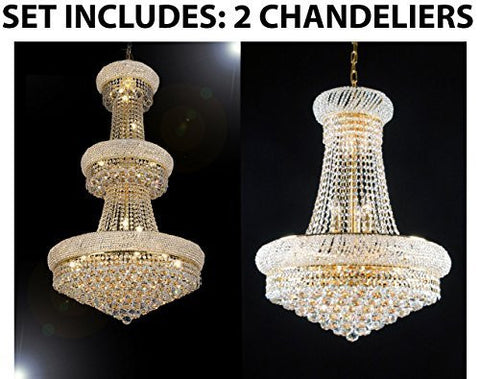Set Of 2 - 1 For Entryway/Foyer And 1 For Dining Room French Empire Empress Crystal (Tm) Chandeliers Chandelier Lighting - 1Ea Cg/541/24 + 1Ea Cg/542/15