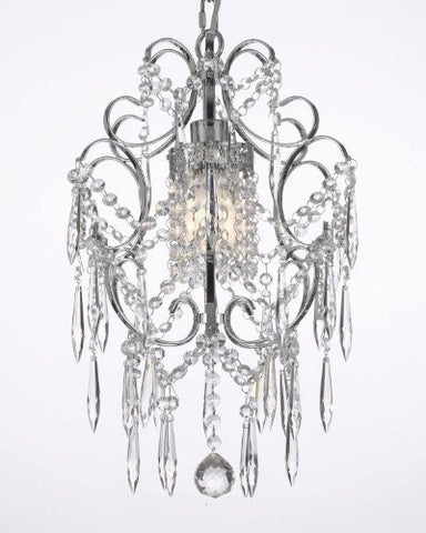 "Chrome Crystal Chandelier Lighting Dressed W/ Icicle Crystals H 15"" W 11.5"" - J10-B10/26019/1"