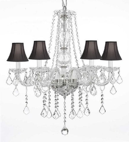 "Crystal Chandelier Lighting With Black Shades H25"" X W24"" - G46-Blackshades/B26/384/5"