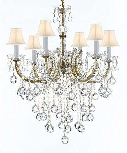 "Swarovski Crystal Trimmed Chandelier Maria Theresa Chandelier Crystal Lighting Chandeliers With White Shades H 30"" W 22"" - J10-Sc/B61/26066/6Sw"