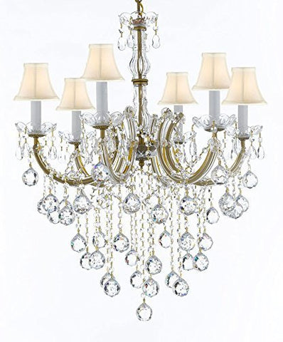 "Maria Theresa Chandelier Crystal Lighting Chandeliers With White Shades H 30"" W 22"" - J10-Sc/B61/26066/6"
