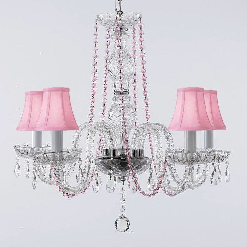 Crystal Chandelier Lighting With Pink Color Crystal And Shades - A46-Pinkb1/Pinkshades/384/5