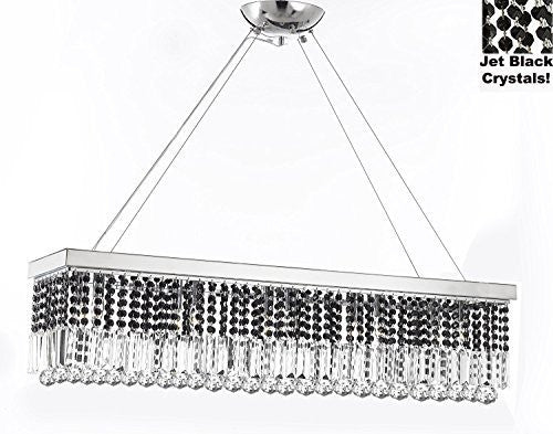 "10 Light 40"" Contemporary Crystal Chandelier Rectangular Chandeliers Lighting -Trimmed With Jet Black Crystal! - G902-B87/1120/10"