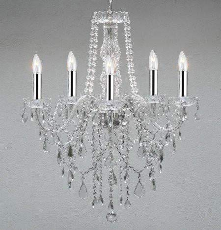 Authentic All Crystal Chandelier Chandeliers Lighting with Chrome Sleeves! - G46-B43/3/384/5
