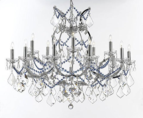 "Maria Theresa Chandelier Lighting Crystal Chandeliers H28 ""X W37"" Chrome Finish Dressed With Sapphire Blue Crystals Great For The Dining Room Living Room Family Room Entryway / Foyer - J10-B62/B82/Chrome/26050/15+1"