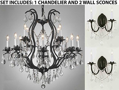 "Three Piece Lighting Set - Wrought Iron Crystal Lighting Chandeliers H30"" X W28"" And 2 Wall Sconces - 1Ea 3034/8+4 + 2Ea 2/3034/Wallsconce"