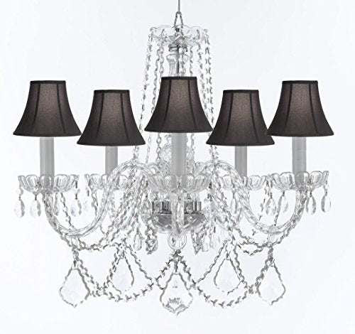 """Murano Venetian Style Chandelier Crystal Lights Fixture Pendant Ceiling Lamp for Dining Room, Bedroom, Entryway , Living Room with Large, Luxe, Diamond Cut Crystals! H25"""" X W24"""" w/ Black Shades - A46-BLACKSHADES/B94/B89/384/5DC"""