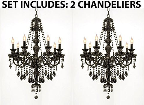 "Set Of 2 - New Jet Black Gothic Crystal Chandelier Lighting H37"" X W26"" - 2Ea-Black/Sm/490/7"