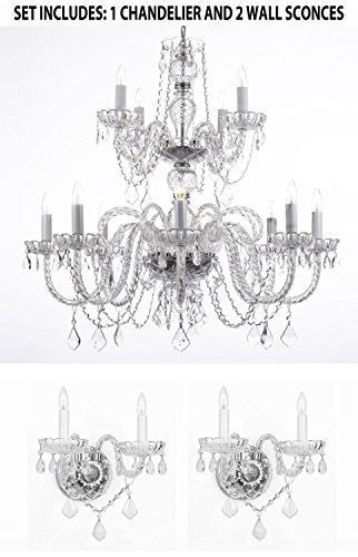 "Three Piece Lighting Set - Crystal Chandelier H30"" X W28"" And 2 Wall Sconces - 1Ea 385/8+4 + 2Ea B12/2/386"