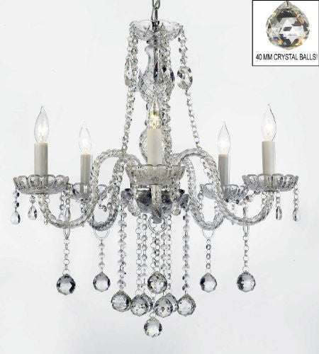 "Authentic All Crystal Chandeliers Lighting Chandeliers With Crystal Balls H27"" X W24"" - G46-B6/384/5"