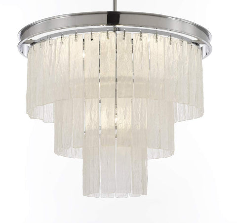 "Glacier Round Frosted Glass Chandelier Lighting 3 Tier - Great for The Dining Room, Kitchen, Foyer, Entry Way, Living Room H 22"" W 20"" - G7-6002/10"