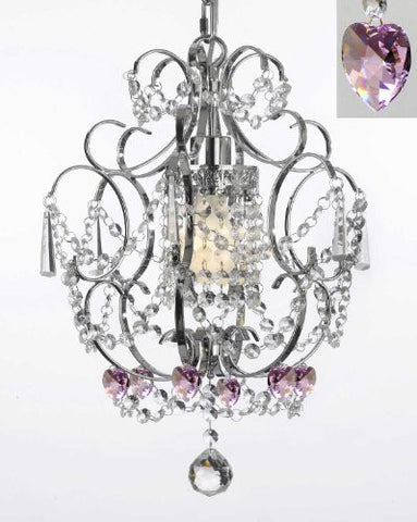 "Chrome Crystal Chandelier Lighting With Pink Crystal Hearts! H 15"" W 11.5"" - Perfect For Kids' And Girls Bedrooms! - G7-B23/1125/1"