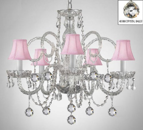 Crystal Chandelier With Pink Shades & Crystal Balls - A46-B6/Pinkshades/385/5