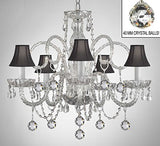 Swarovski Crystal Trimmed Chandelier Crystal Chandelier With Black Shades & Crystal Balls - A46-B6/Blackshades/385/5 Sw