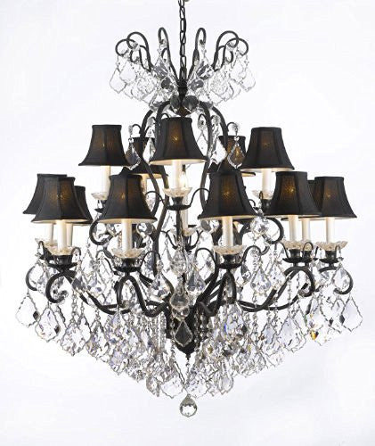"Wrought Iron Crystal Chandelier Lighting With Black Shades W38"" H44"" - F83-Blackshades/556/16"