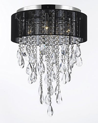 Flushmount 4-Light Chrome And Black Shade Empress Crystal (Tm) Chandelier Lighting - G7-B9/3/Black/2130/4