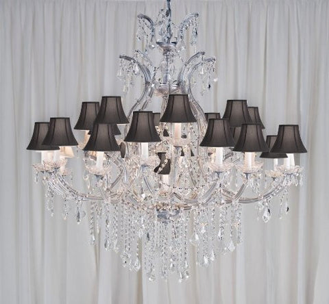 "Maria Theresa Chandelier Crystal Chandeliers Lighting H52"" X W46"" With Black Shades - A83-Blackshades/Silver/52/2Mt/24+1 Gtc"