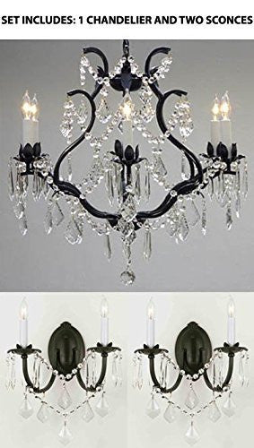 "Three Piece Lighting Set - Wrought Iron Crystal Chandelier Lighting H 19"" W 20"" And 2 Wall Sconces - 1Ea 3530/6 + 2Ea 2/3034/Wallsconce"
