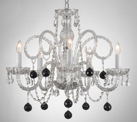 Crystal Chandelier Lighting With Black Crystal Balls - A46-B3/385/5 - Black Balls
